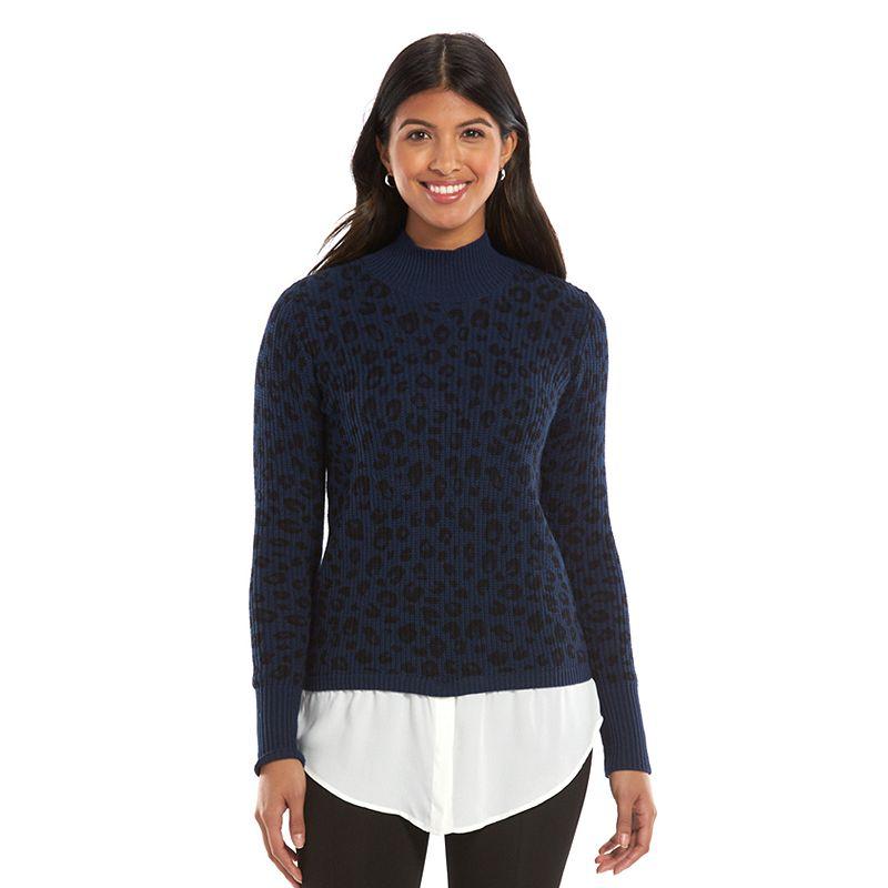 Women's Apt. 9® Woven-Hem Mockneck Sweater