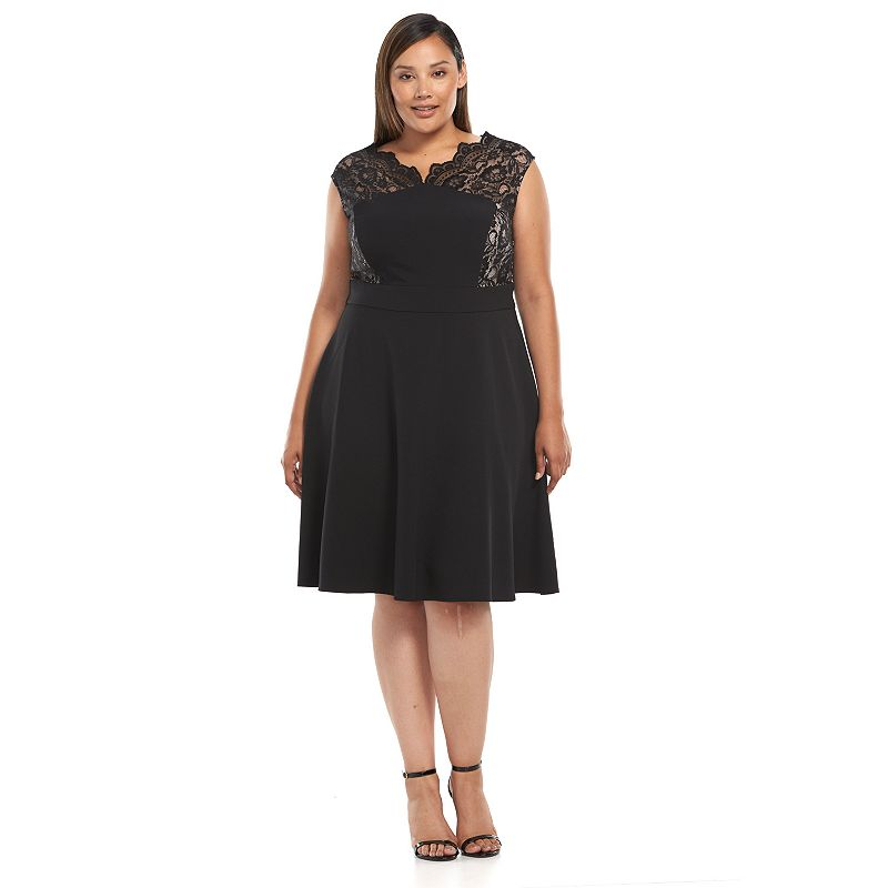 Plus Size Suite 7 Scalloped Lace Fit & Flare Dress