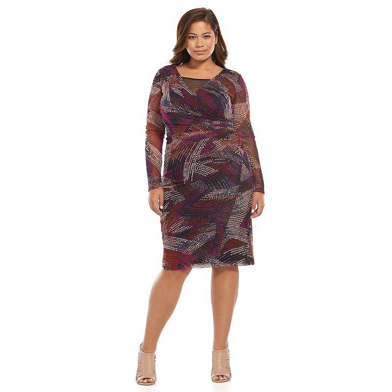 Plus Size Suite 7 Faux-Wrap Sheath Dress