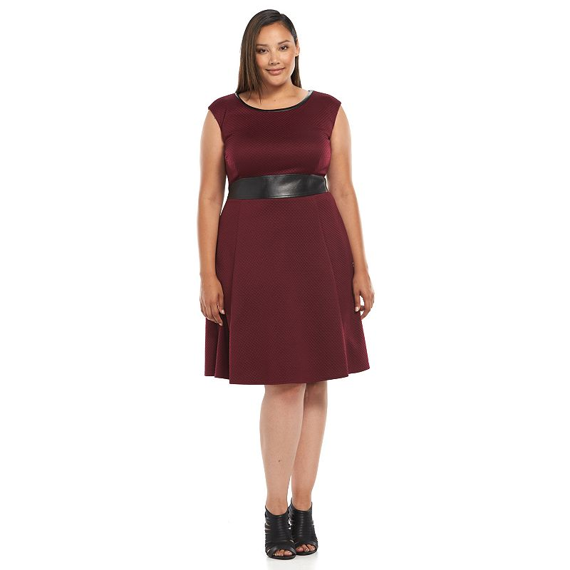 Plus Size Suite 7 Textured Fit & Flare Dress