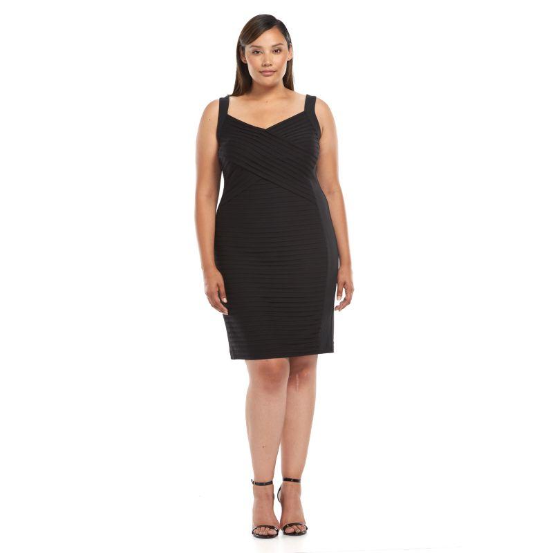 Plus Size Suite 7 Pintuck Sheath Dress, Women's, Size: 14 W, Black