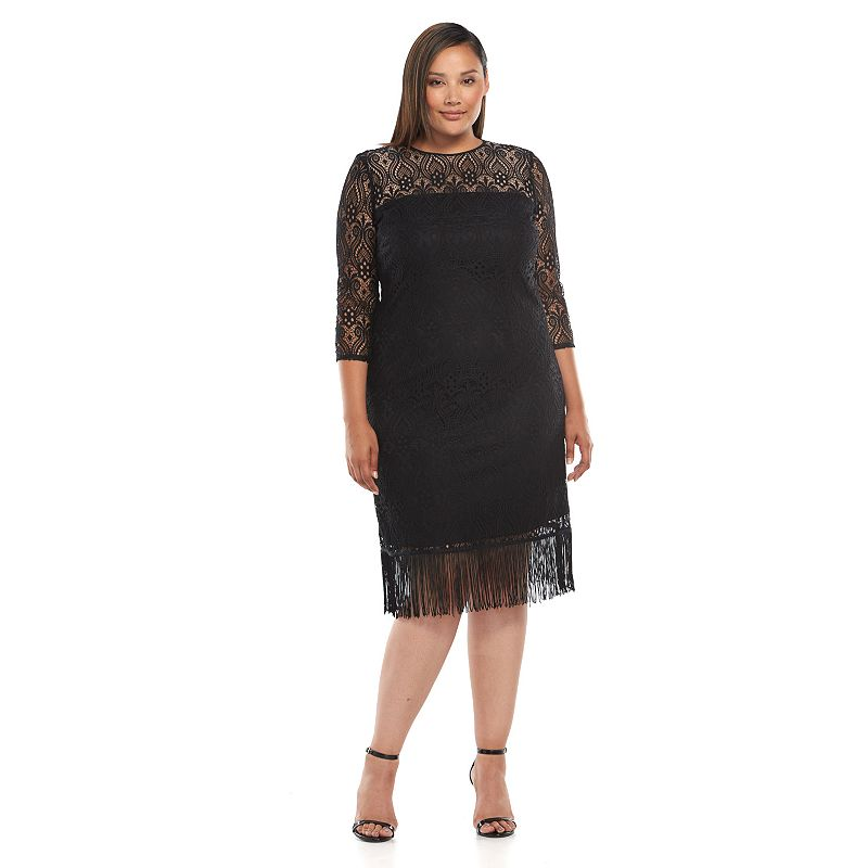Plus Size Suite 7 Lace Fringe-Hem Sheath Dress