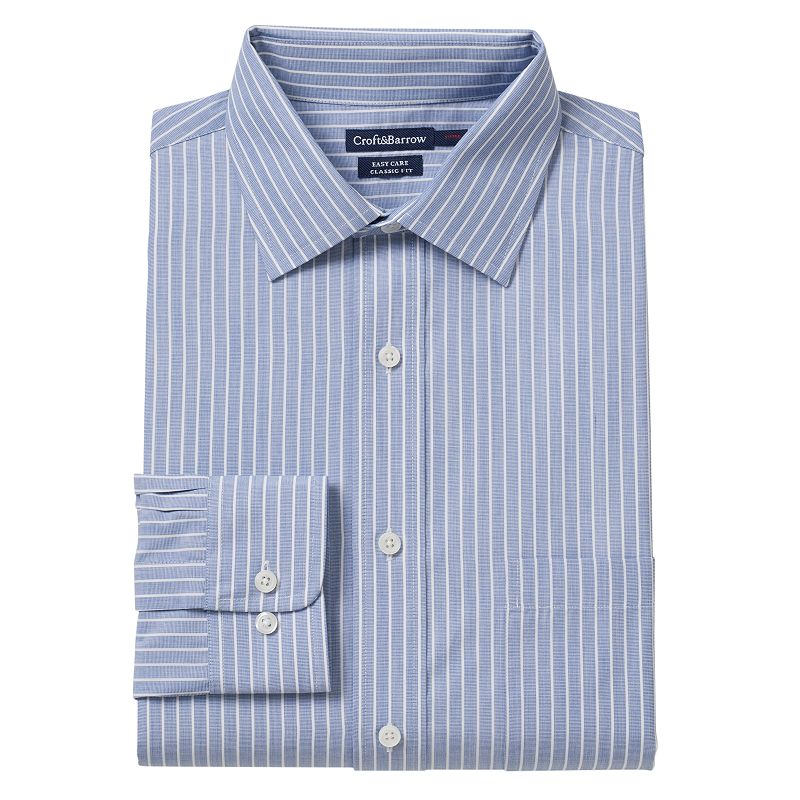 Men's Croft & Barrow® Classic-Fit Striped Easy-Care Spread-Collar Dress Shirt