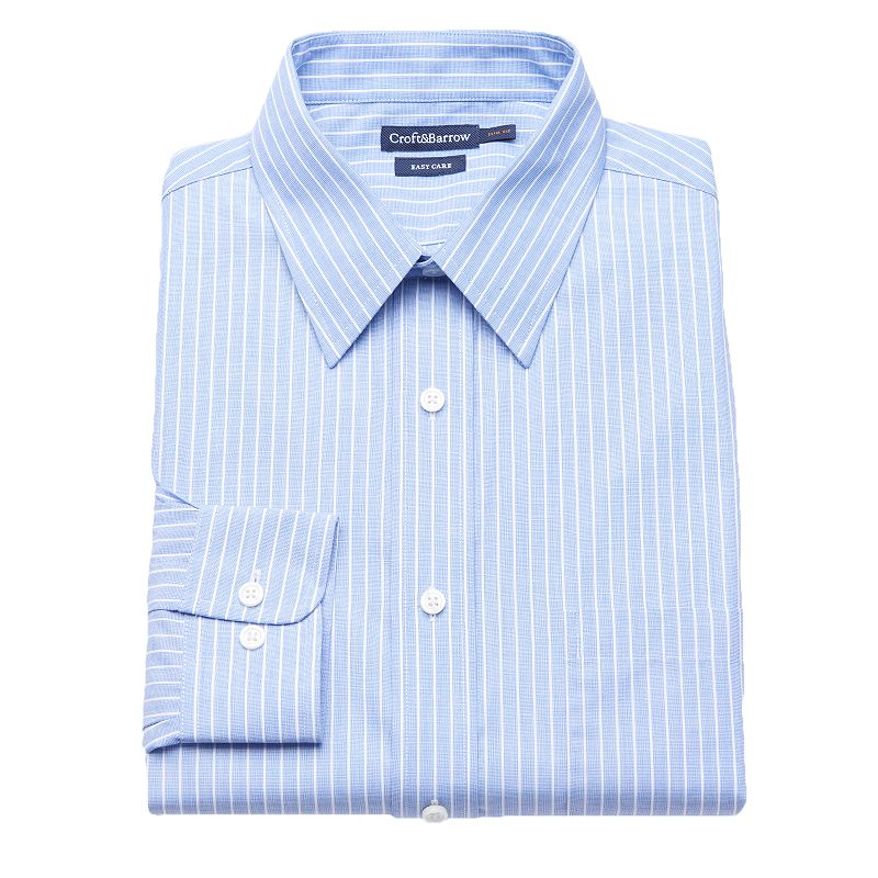 Men's Croft & Barrow® Shady Blue Classic-Fit Easy-Care Point-Collar Dress Shirt