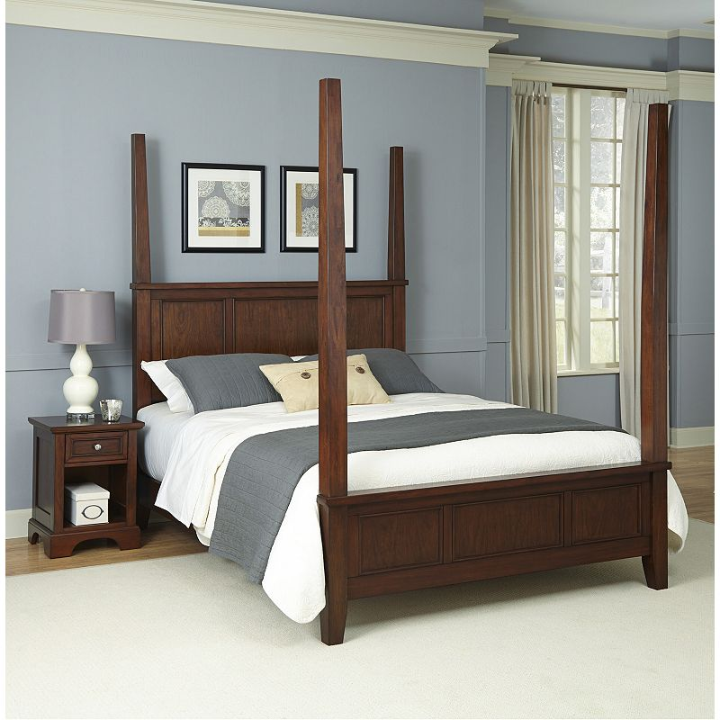 Home Styles 2-piece Poster Bed and Nightstand Set