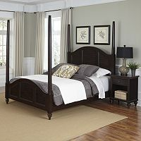Home Styles 2-piece Bermuda Poster Bed and Nightstand Set