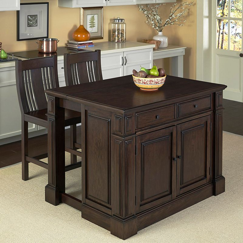 Home Styles 3-piece Prairie Home Kitchen Island and Counter Stool Set