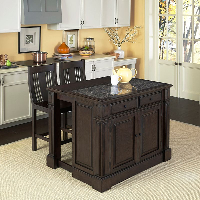 Home Styles 3-piece Prairie Home Granite Top Kitchen Island and Counter Stool Set