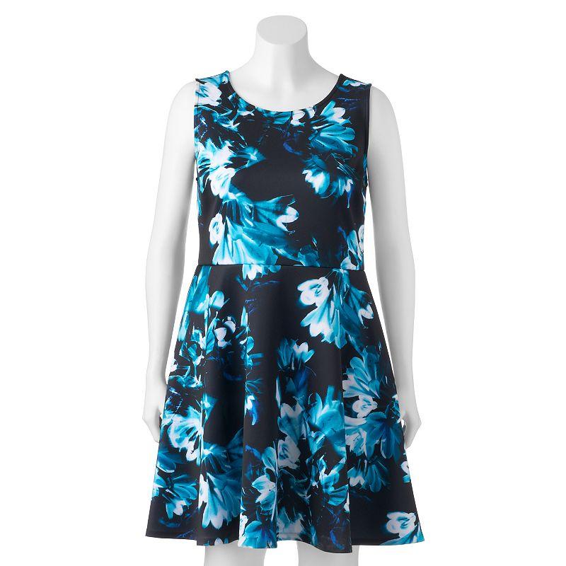 Plus Size Apt. 9 Floral Fit & Flare Scuba Dress, Blue