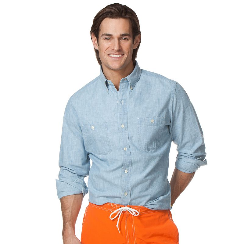 Men 39 s chaps medium plaid button down shirt dealtrend for Chaps button down shirts