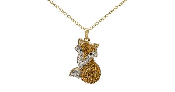 Crystal 14k gold over silver fox pendant necklace for Kohls jewelry mens rings