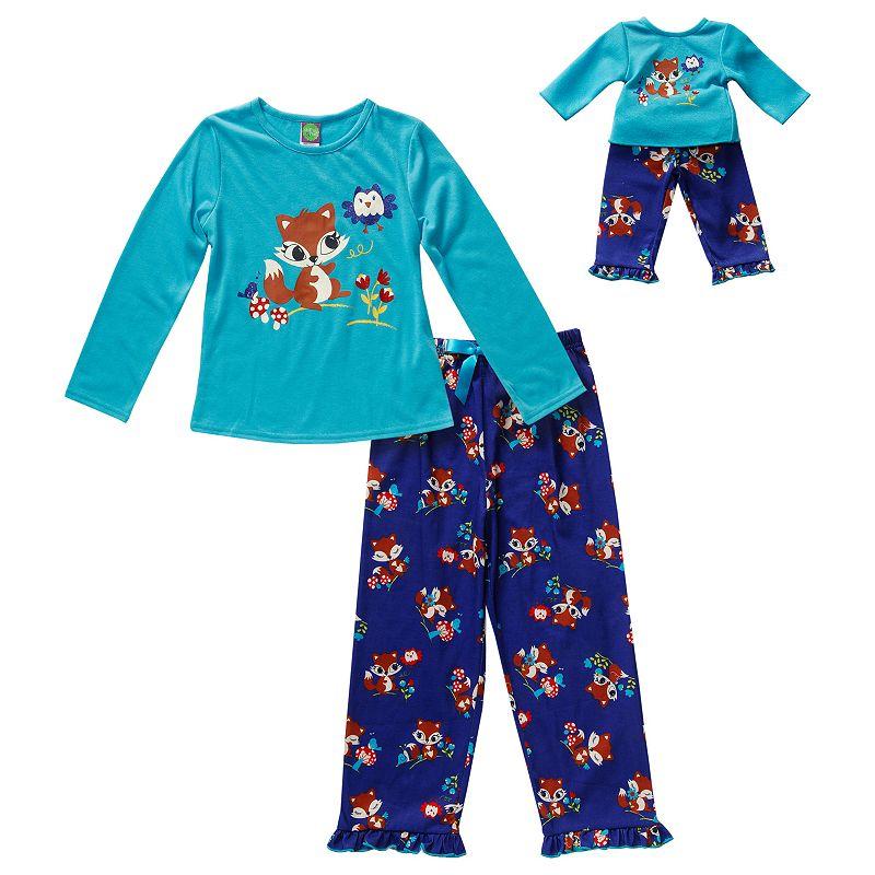 Girls 4-14 Dollie & Me Sparkly Squirrel Pajama Set