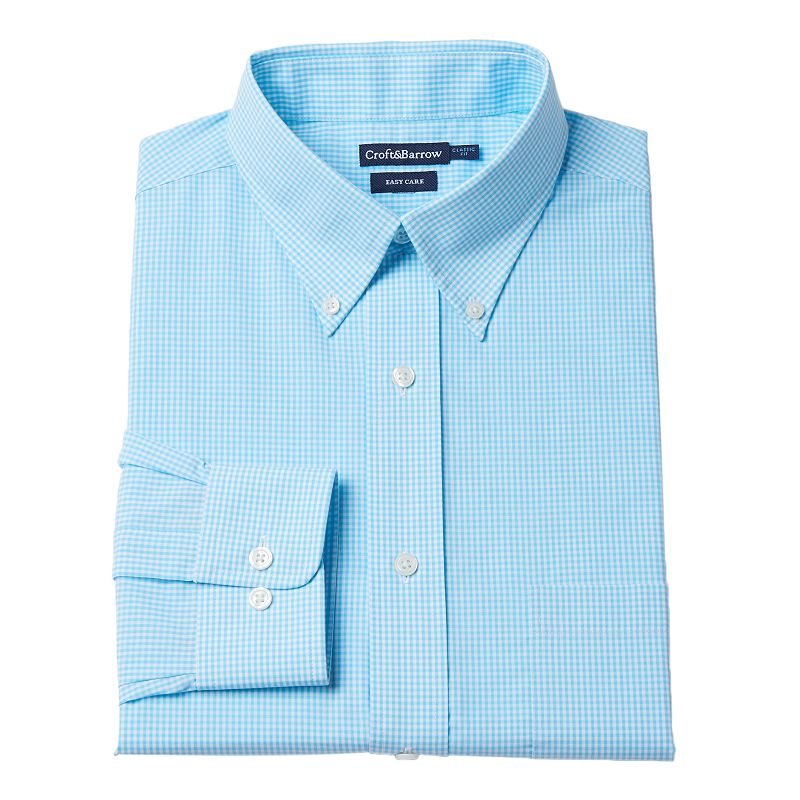 Croft & Barrow® Classic-Fit Gingham-Checked Easy-Care Button-Down Collar Dress Shirt - Men