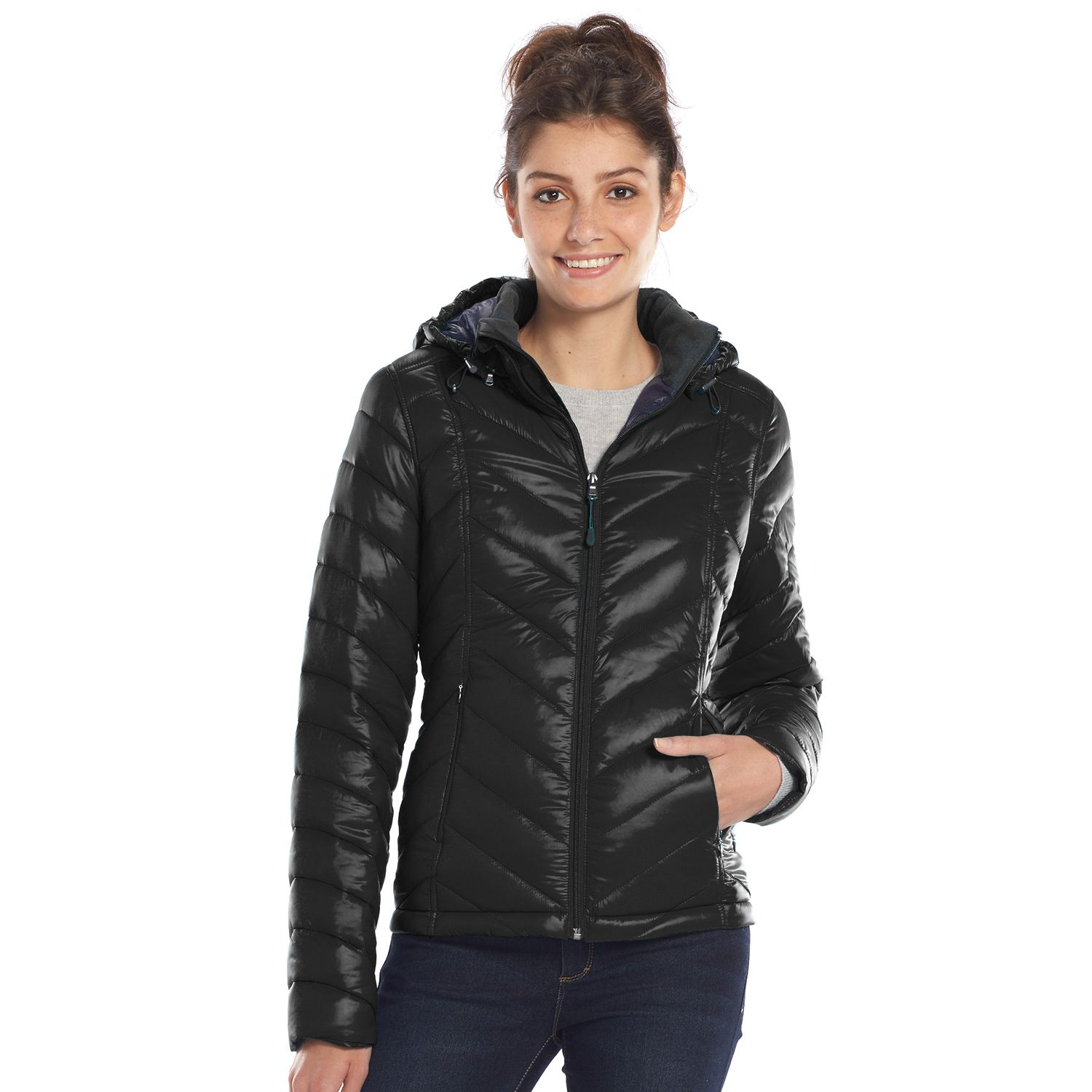 Tek Gear Hooded Packable Quilted Puffer Womens Jacket