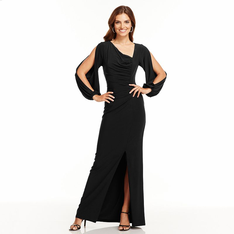 Chaps Solid Ruched Evening Gown - Women's
