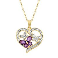 Amethyst 18k Gold Over Silver Butterfly Heart Pendant Necklace