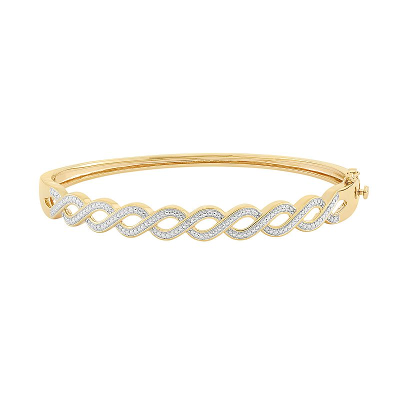18k Gold Over Silver Hinged Bangle Bracelet
