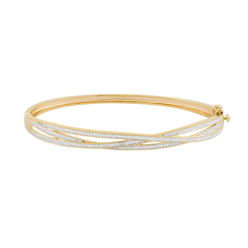18k Gold Over Silver Crisscross Hinged Bangle Bracelet