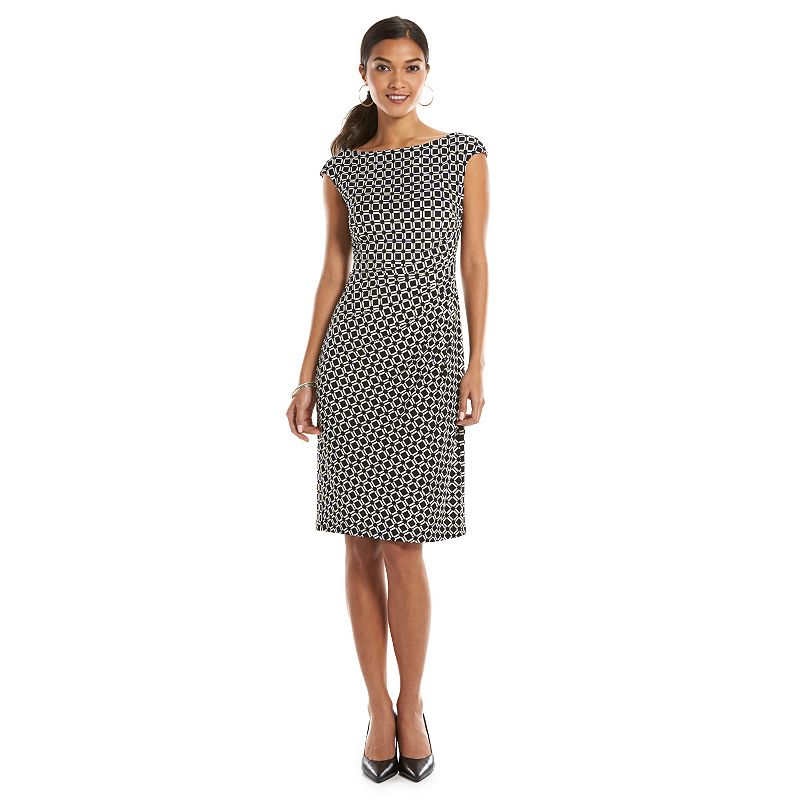 Petite Chaps Geometric Sheath Dress
