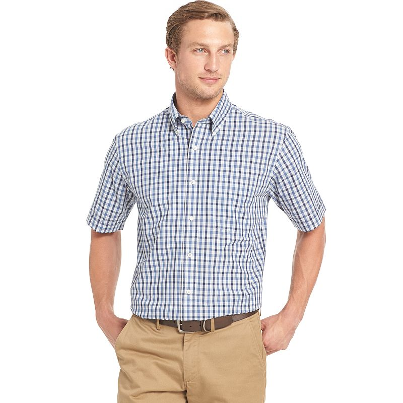 Men's Arrow Cambridge Classic-Fit Plaid Poplin Button-Down Shirt