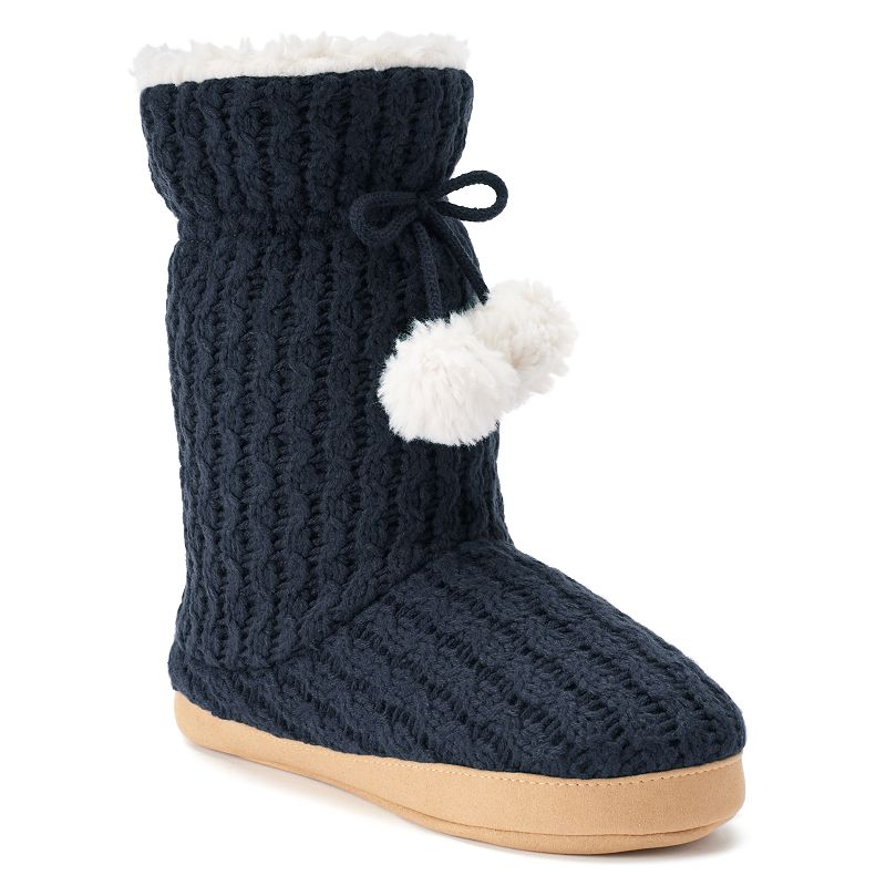 Isotoner Cable Sweater-Knit Women's Bootie Slippers
