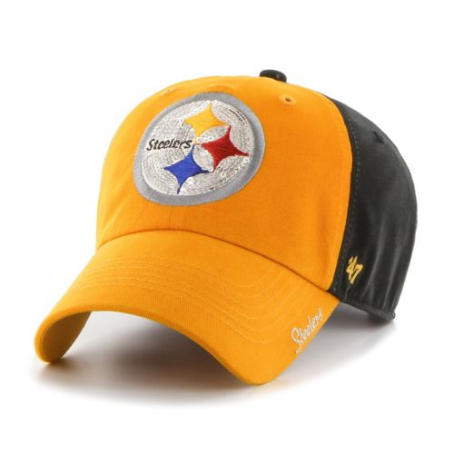 Women's '47 Brand Pittsburgh Steelers Sparkle Logo Clean Up Adjustable Cap