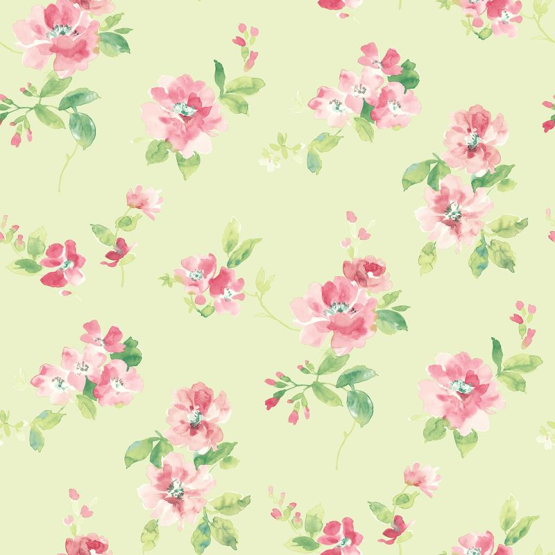 Brewster Home Fashions Captiva Floral Toss Wallpaper, Green thumbnail