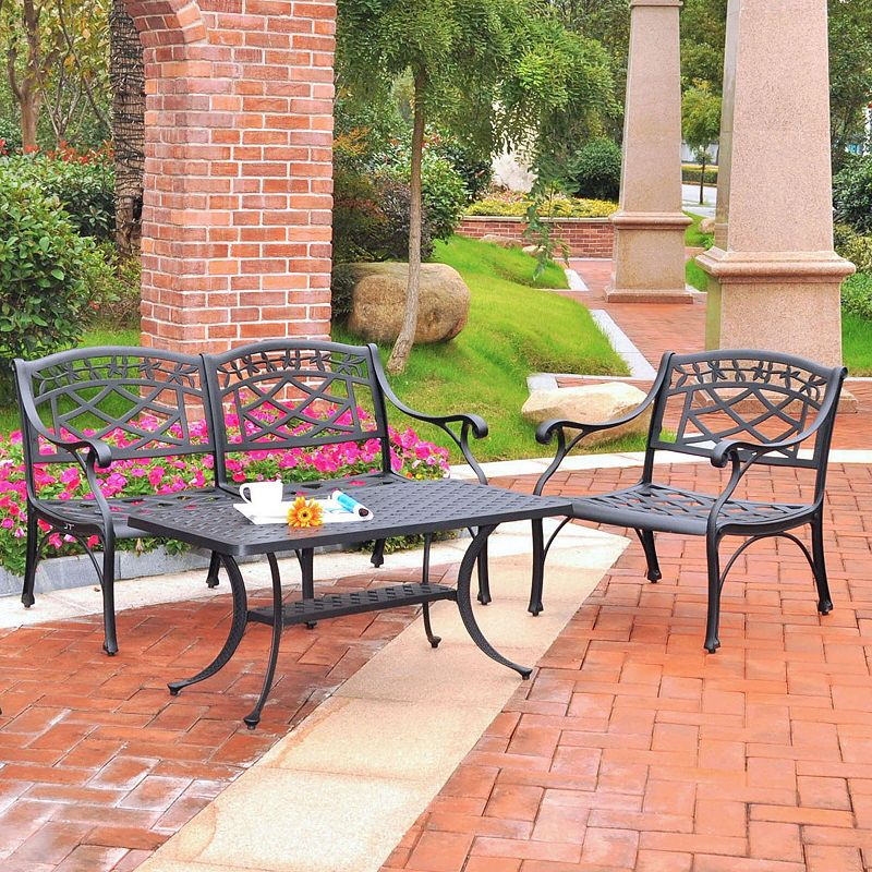 Sedona 3-Piece Cast Aluminum Table & Chairs Outdoor Patio Set