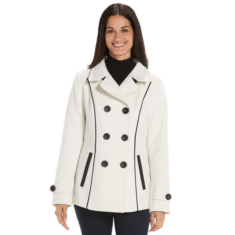 Women's Croft & Barrow® Double-Breasted Faux-Wool Peacoat