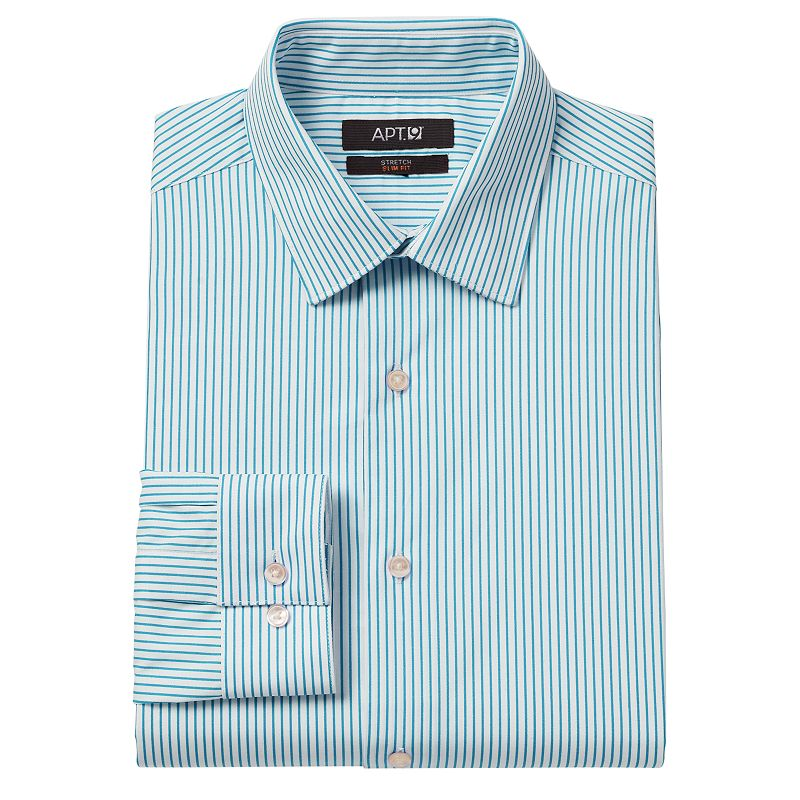 Men's Apt. 9® Slim-Fit Bright Striped Stretch Spread-Collar Dress Shirt