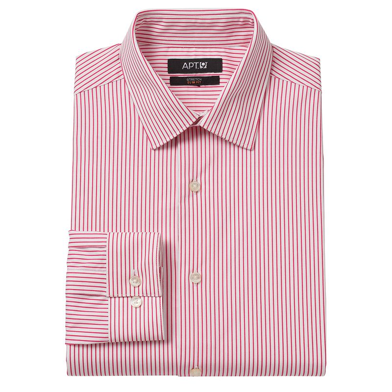 Men's Apt. 9® Slim-Fit Bright Striped Stretch Spread-Collar Dress Shirt
