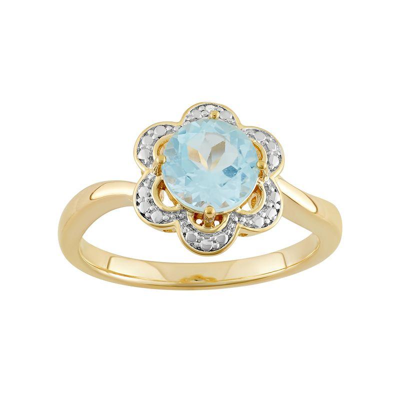 Sky Blue Topaz 18k Gold Over Silver Flower Ring