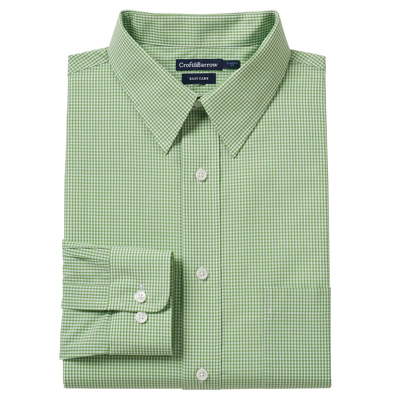Men's Croft & Barrow® Fitted Gingham-Checked Easy-Care Point-Collar Dress Shirt