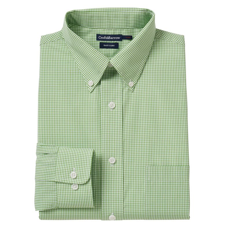 Men's Croft & Barrow® Fitted Gingham-Checked Easy-Care Button-Down Collar Dress Shirt