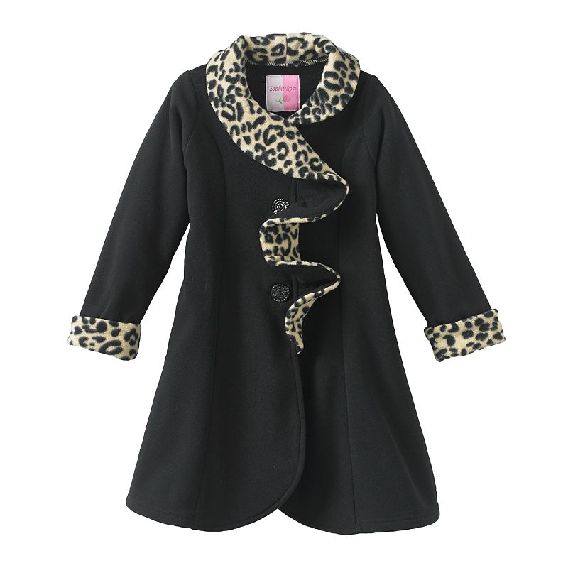 Sophie Rose Girls 7-10 Leopard-Trim Jacket