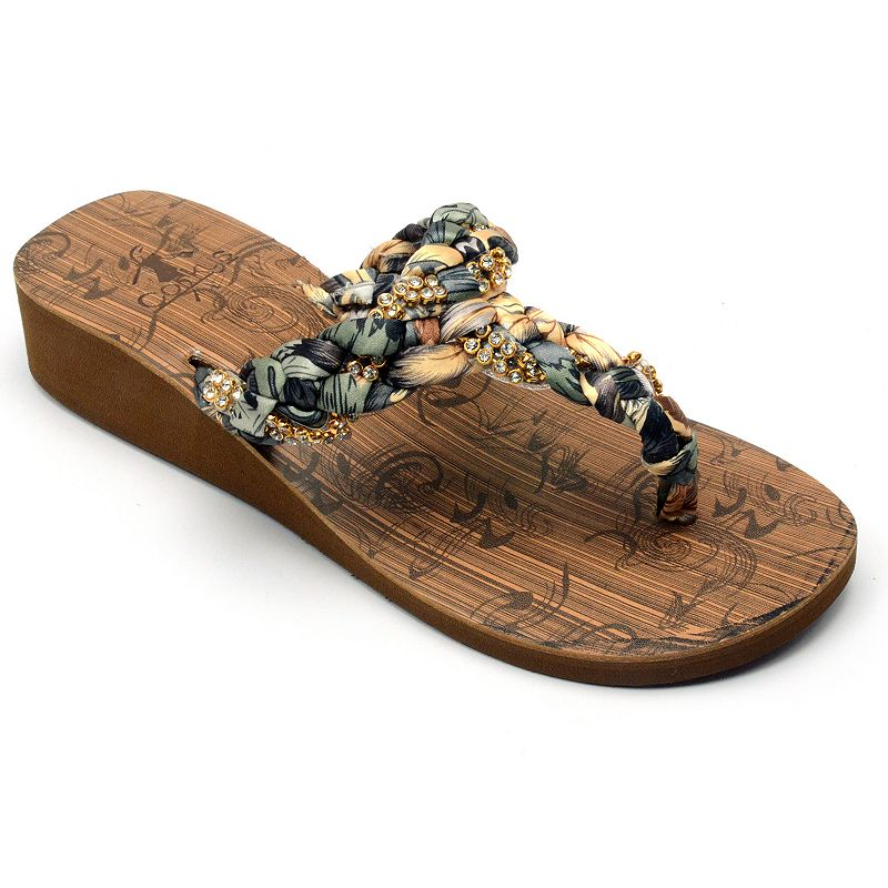 Corkys Bolivia Women's Braided Wedge Thong Sandals