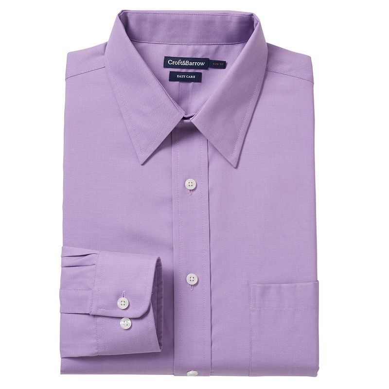 Men's Croft & Barrow® Slim-Fit Pinpoint Oxford Easy-Care Point-Collar Dress Shirt