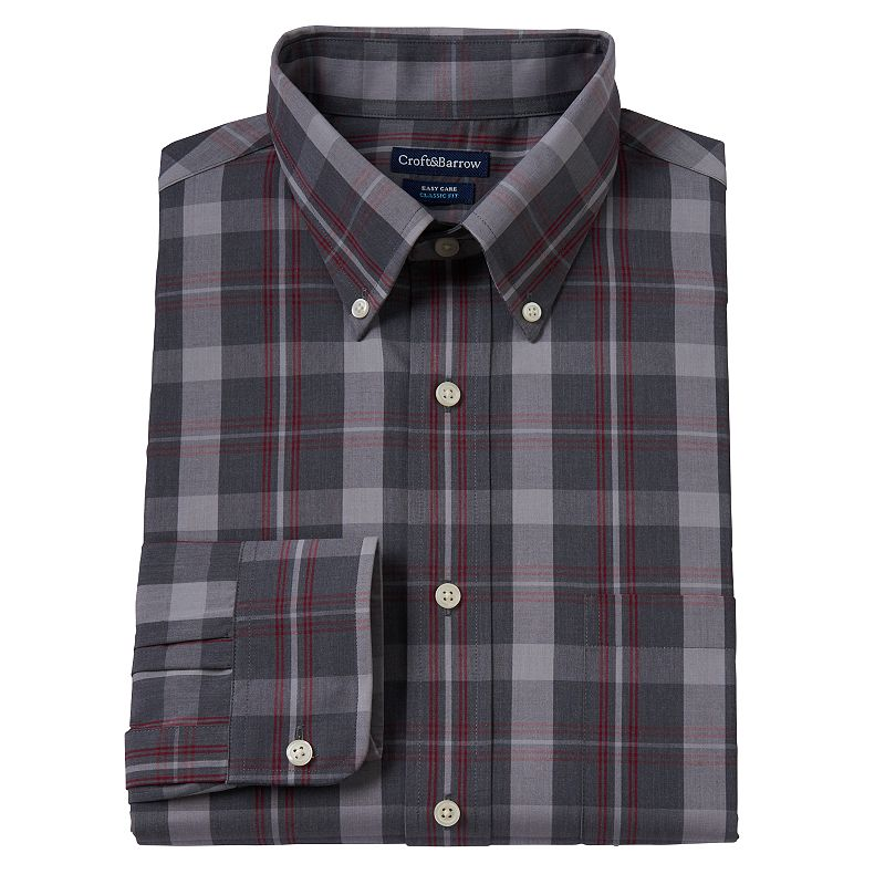 Men's Croft & Barrow Slim-Fit Heather Plaid Button-Down Dress Shirt
