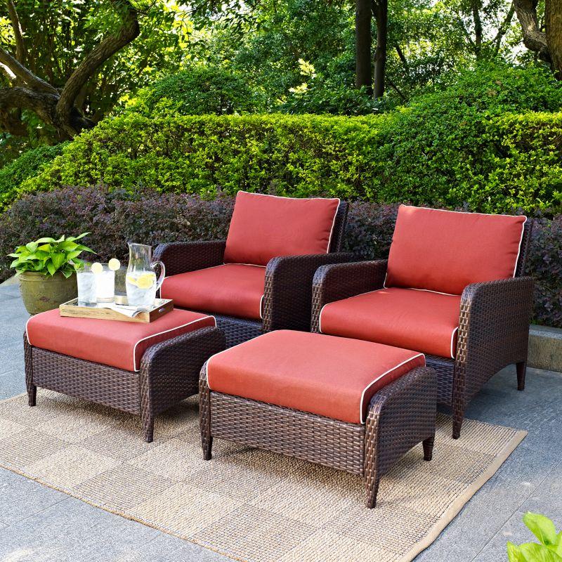 Crosley Outdoor Kiawah 4 pc Outdoor Wicker Seating Set