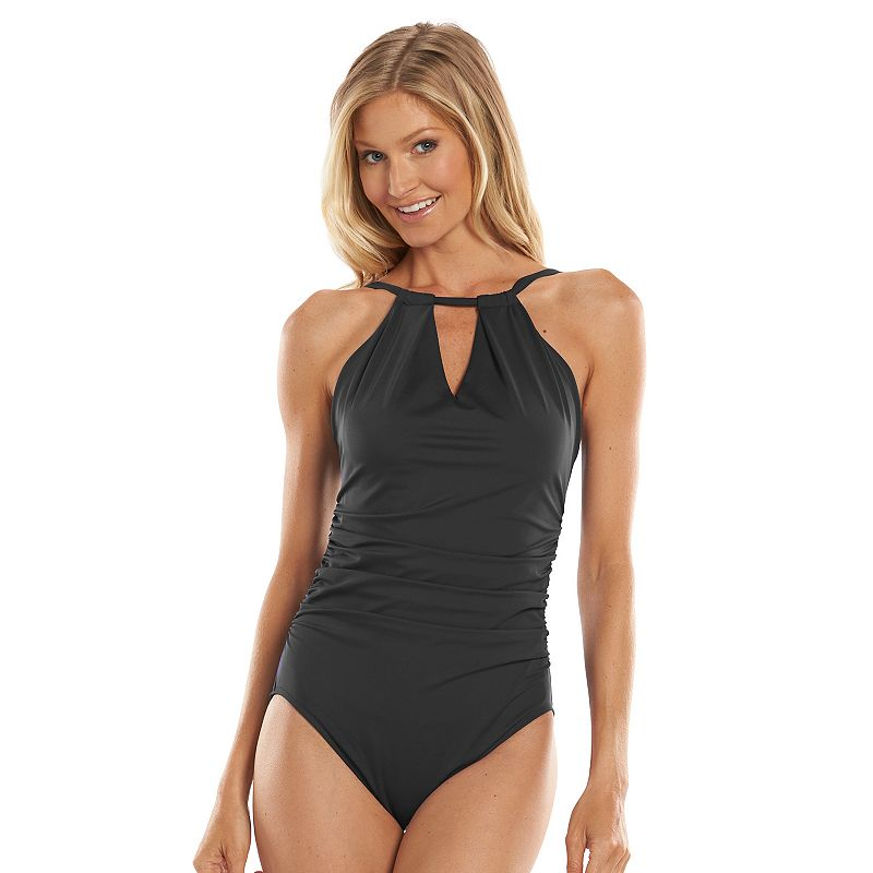 Trimshaper Sara High-Neck Halter Body-Sculptor One-Piece Swimsuit - Women's