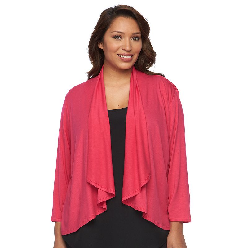 Plus Size Apt. 9® Draped Open-Front Cardigan