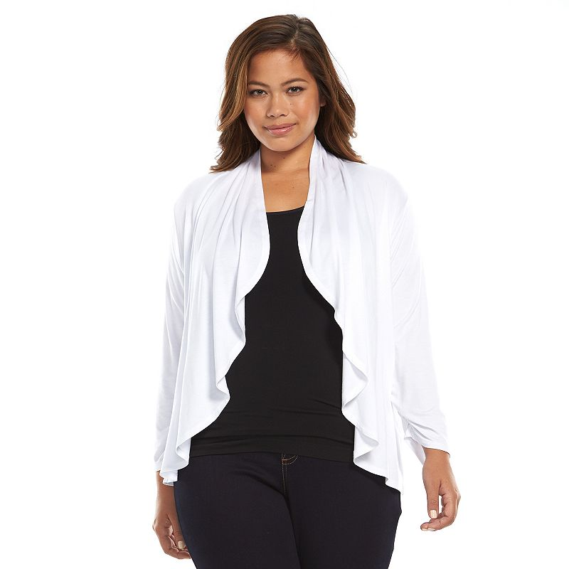 Plus Size Apt. 9® Draped Open-Front Cardigan