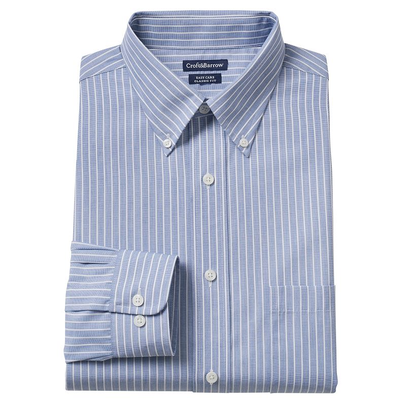 Men's Croft & Barrow® Classic-Fit Striped Easy-Care Button-Down Collar Dress Shirt