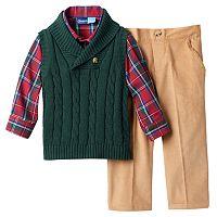 Toddler Boy Great Guy Cowlneck Sweater Vest, Shirt & Pants Set
