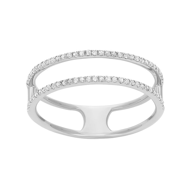 1/6 Carat T.W. Diamond Sterling Silver 2-Row Ring