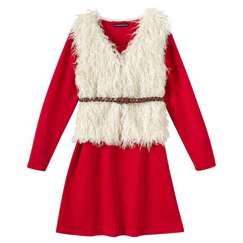 Girls 7-16 My Michelle Knit Dress & Faux-Fur Vest