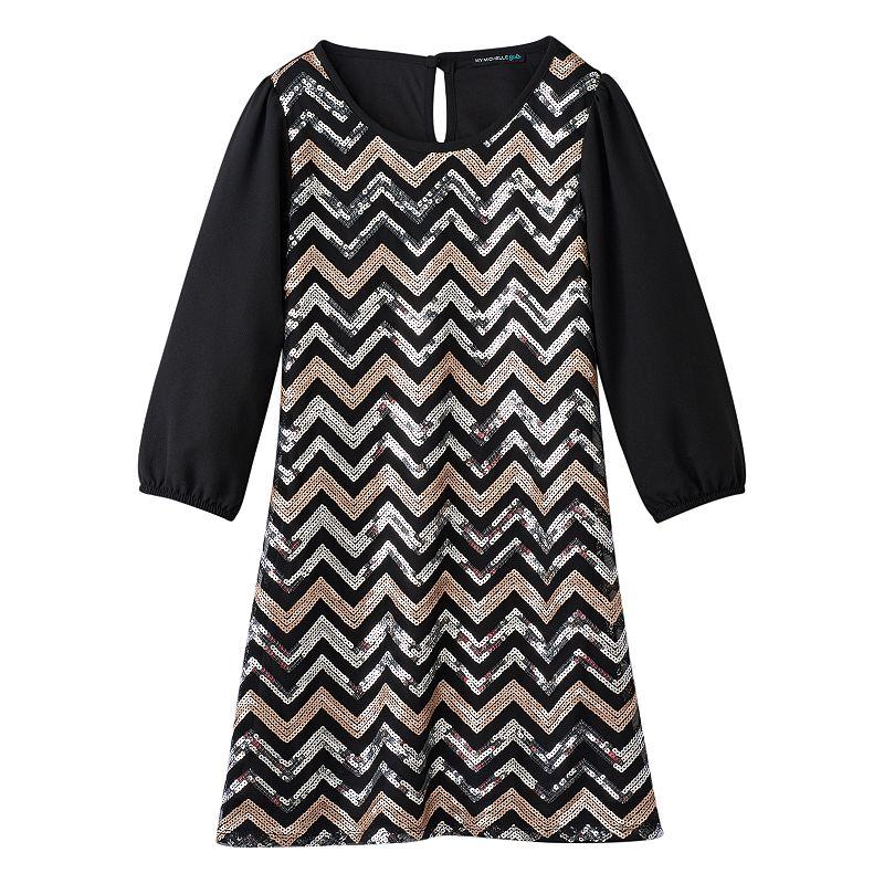 Girls 7-16 My Michelle Chevron Sequin Dress