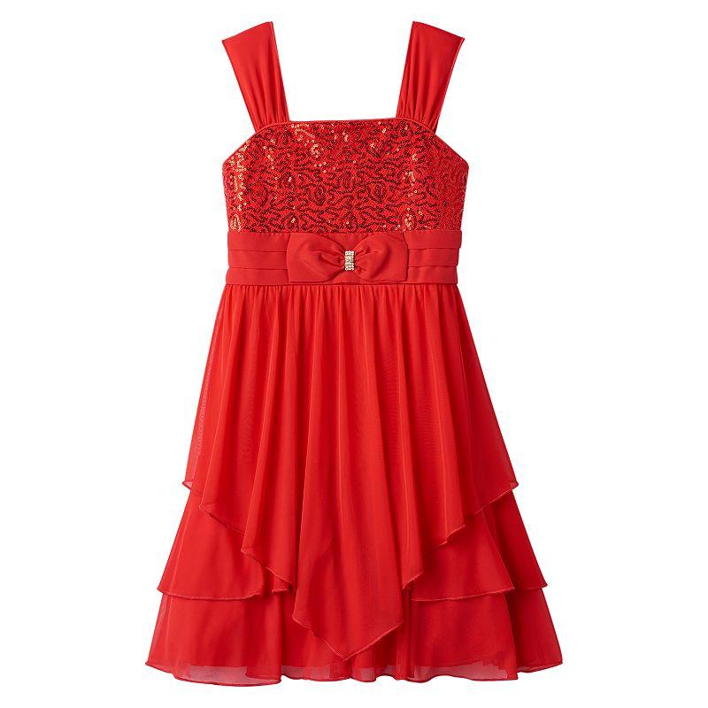 Girls 7-16 My Michelle Sequin Bow Tiered Hem Dress