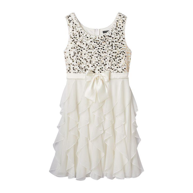 Girls 7-16 My Michelle Corkscrew Sequin Dress