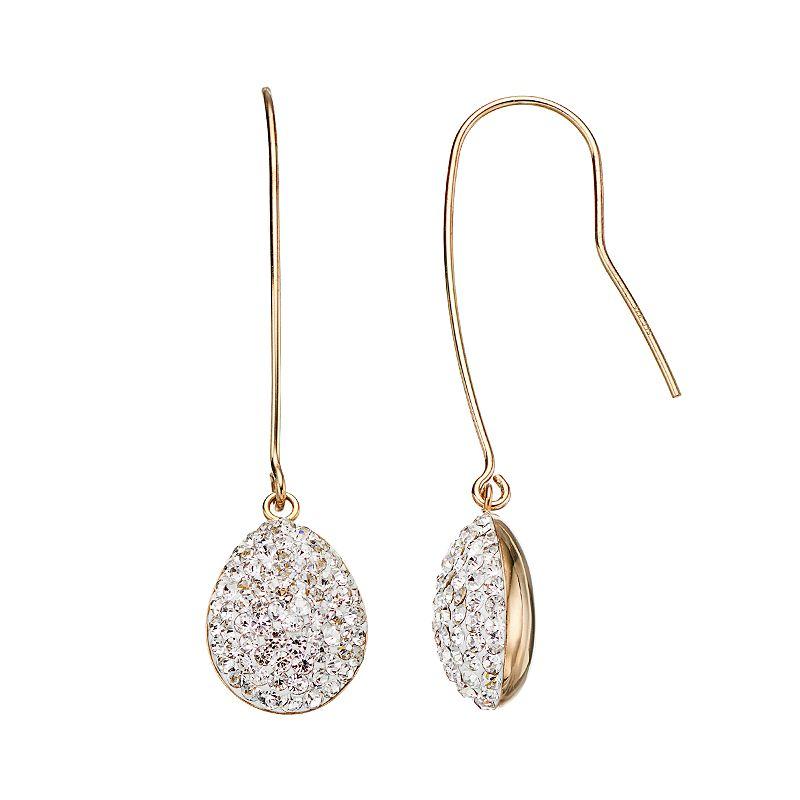 Crystal 14k Gold Over Silver Teardrop Earrings